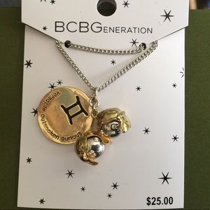 Gemini Gold & Silver Zodiac Pendant Necklace.